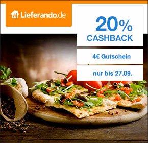 [Qipu] Nur bis Sonntag: 20% Cashback auf jede Bestellung bei Lieferando + 4€ Neukundengutschein