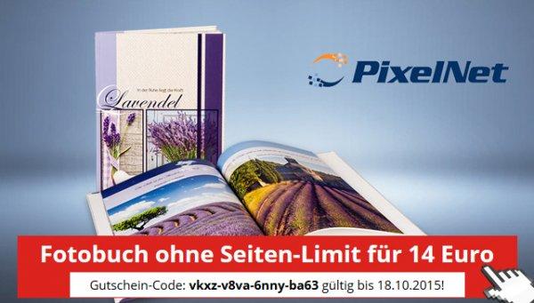 Pixelnet Fotobuch DIN A4 bis 156 Seiten für 14 Euro incl. Versand