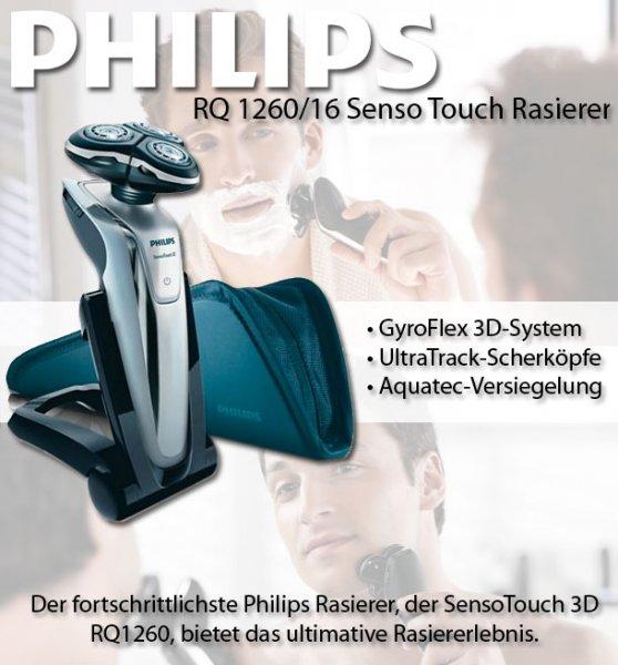 PHILIPS RQ 1260/16 Senso Touch Rasierer schwarz Nass- und Trockenrasierer bei ebay 119,95€