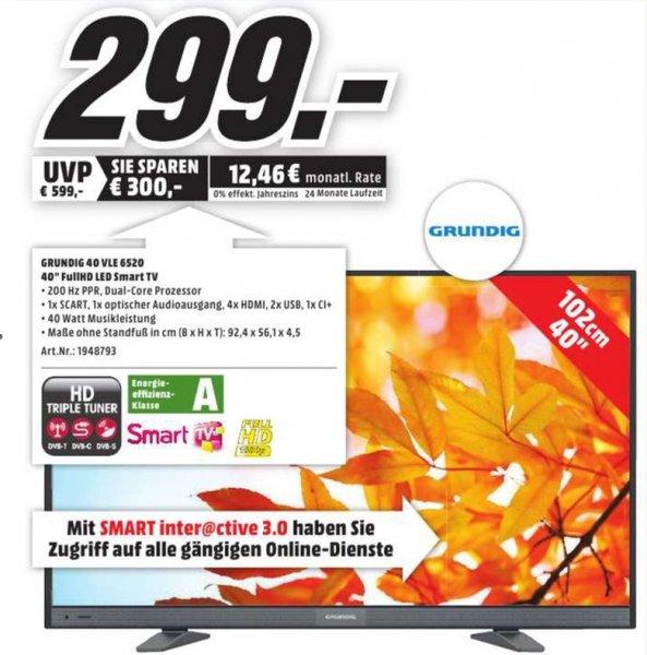[Lokal Mediamärkte Nürnberg] Grundig 40 VLE 6520 BL 102 cm (40 Zoll) Fernseher (Full HD, Triple Tuner, Smart TV)  für schlanke 299,-€ NUR AM 27.09