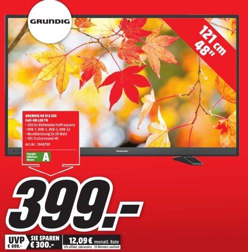 [Lokal Mediamarkt Mülheim] GRUNDIG 48 VLE 565 BG, 121 cm (48 Zoll), Full-HD, LED TV, 200 Hz PPR, DVB-T, DVB-C, DVB-S, DVB-S2, EEK: A für 399,-€