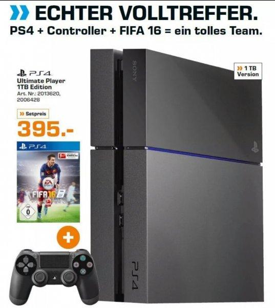 Sony Playstation 4 1TB + Fifa 16 + 3 Monate PSPLUS (mit Gutschein, ohne 395€)