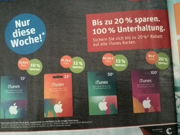 [Rewe] Bundesweit ITunes Karten bis zu 20% günstiger