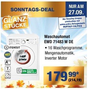 [METRO] Sonntagsdeal Waschmaschine Indesit EWD 71483 W DE mit Coupon