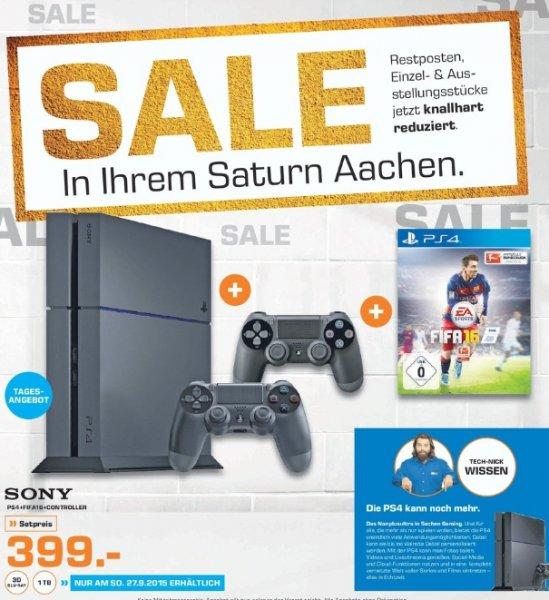 [Lokal Saturn Aachen] NUR HEUTE ab 13.00 Uhr.....Playstation 4 (1TB) + FIFA 16 + 2.Controller für 399,-€