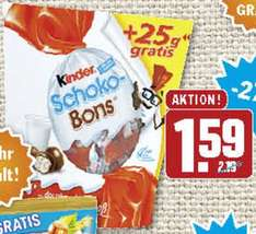 [HIT] Kinder Schokobons 225g (+25g Gratis) für 1,59€ (28.09.-03.10.)