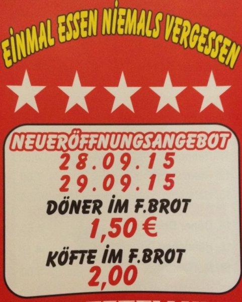 Lokal in Sulingen | Döner im Fladenbrot 1,50€ / Köfte im Fladenbrot 2,00€