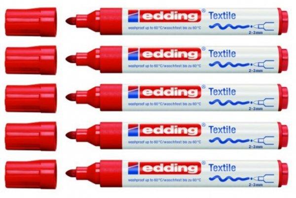 5 x Edding 4500 creative Textilmarker (waschfest, 2-3 mm, Farbe: rot) für 3,99 €, @ Ebay