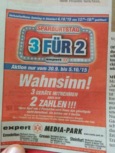 Expert Media-Park 3 für 2 auf Alles! (Emsdetten, Greven, Steinfurt)