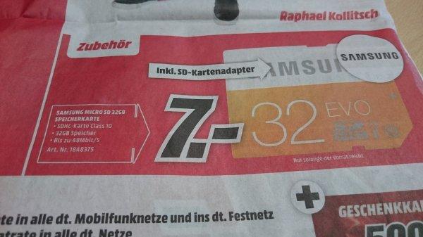 [lokal Leipzig Mediamarkt] Samsung Micro SD 32 GB für 7 €