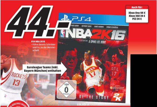 [Lokal Mediamärkte München,Karlsfeld und Erding] NBA 2K16 - PlayStation 4 und XBoxOne für je 44,-€