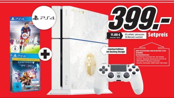 [Lokal Mediamarkt Saarlouis] Sony PlayStation 4 (PS4) 500GB + Destiny: König der Besessenen - Limited Edition + Fifa 16 für 399,-€