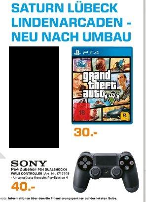 [Lokal Saturn Lübeck-Lindenarcaden und Dänischburg] Grand Theft Auto 5 (PS4) für 30,-€ und PS4 Controller für 40,-€ Ab 01.10