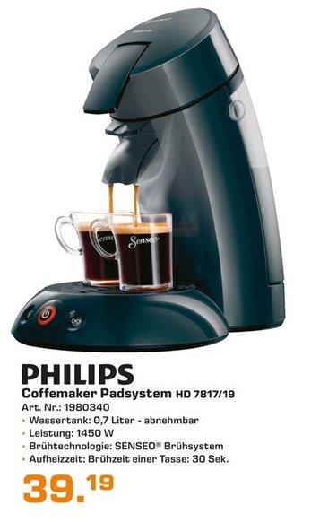 [Lokal Saturn Remscheid] Philips HD7817/69 Senseo Pads schwarz (Pad Automat/ Kapsel Automat) für 39,19€