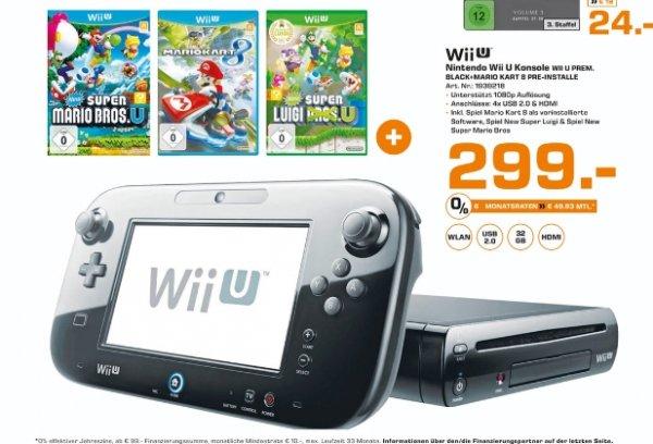 [Lokal Saturn Frankfurt,Offenbach u. Neu Isenburg] Nintendo Wii U Konsole 32 GB Premium Pack inkl. Mario Kart 8 + New Super Luigi U (Wii U) + New Super Mario Bros. U (Wii U) für 299,-€