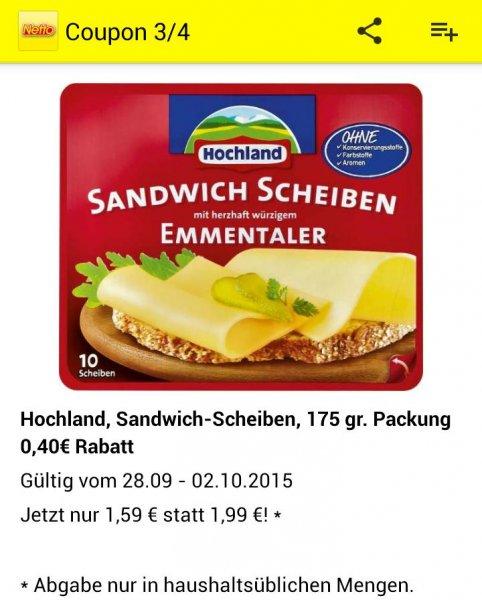 Netto MD (mit Netto App): Hochland Sandwich Scheiben für 1,59€