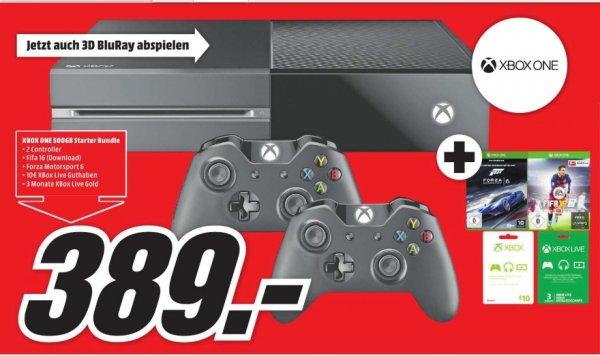 [Lokal Mediamarkt Jena]  MICROSOFT Xbox One + 2 Controller+ FIFA 16 (DLC) +Forza Motorsport 6 (Disc) + 1 Monat EA Access + Xbox Live 3 Monate + Xbox 10 € Guthaben für 389,-€**Zusätzlich 3für2 Aktion für alle Spiele etc...