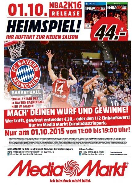 [lokal München] 20€ Media Markt Geschenkkarte kostenlos on top ab einem Einkaufswert von 50€ wenn man einen Basketball Freiwurf trifft