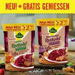 [BUNDESWEIT] 2 Sorten Kühne Rotkohl 400g im Standbeutel Gratis Testen