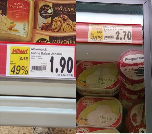 [Bundesweit] Kaufland - Häägen Dazs Strawberry 500ml 2,70€ + Mövenpick Johannisb. 500ml 1,90€