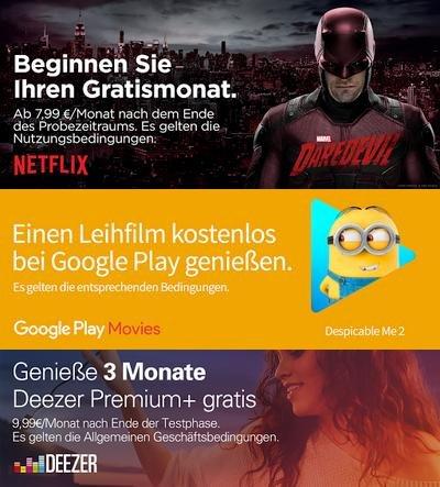 [Chromecast] 1 Google Play Leihfilm, 1 Monat Netflix, 3 Monate Deezer, 3 Monate Maxdome gratis