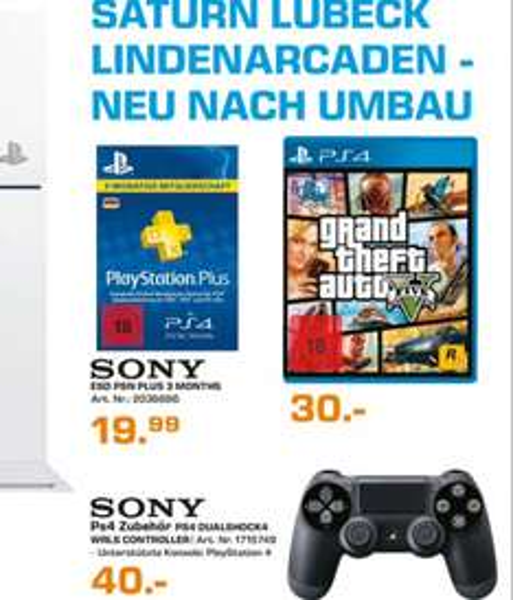 [Saturn lokal - Lübeck] GTA 5 (PS4) für 30€, PS4 Controller für 40€