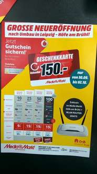 Kabel Deutschland Internet&Phone 100 ohne Anschlußgebühr, WLAN kostenlos und 150€ Gutschein im Media Markt Leipzig Höfe am Brühl