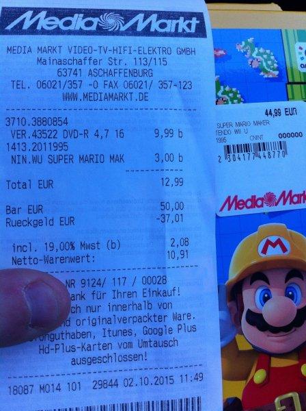 [Lokal Media Markt Aschaffenburg] Preisfehler WiiU Mario Maker für 3€