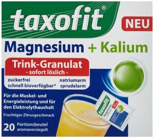 [Amazon.de-Prime] Taxofit Magnesium + Kalium Trink-Granulat, 20 Beutel, 5er Pack (5 x 100g) je Packung 20 Beutel