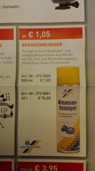 [Offline][bundesweit] Stahlgruber: Bremsenreiniger 2,50€/l statt 3,43€/Liter; Fass 1,51€/Liter