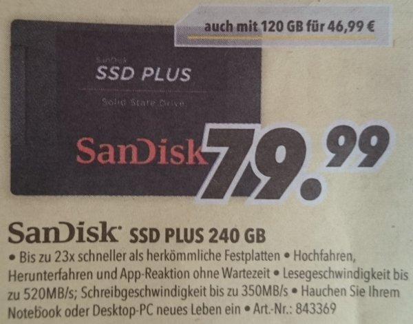 [MediMax][lokal] Sandisk SSD Plus 240GB für 69,99 € (120GB für 41,99 €) (günstiger mit Restguthaben)