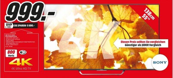 [Lokal Medimarkt Mannheim und 7 weitern Märkten im Umkreis] Nur am Montag 05.10. gültig..Sony KD-55X8505C | 139cm Bilddiagonale |4K UHD |Android |800 Hz Motionflow | Energie-EffizienzklasseA für 999,-€