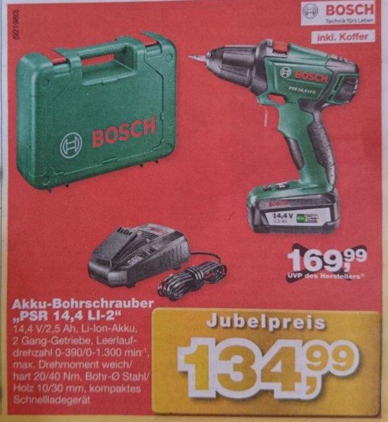[Hellweg] Akku-Bohrschrauber Bosch PSR 14,4 LI-2 / 2,5 Ah / Ladegerät / Koffer für 134,99 €