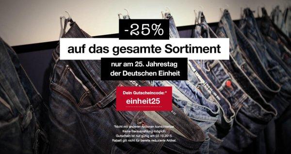 25% Rabatt bei MUSTANG Jeans - nur heute - gilt nicht auf reduzierte Artikel