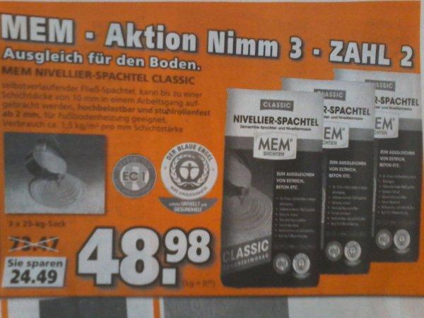 MEM Nivellier-Spachtel 3x25kg für 48,98€   bei GLOBUS  (Nimm 3 zahl 2 Aktion) /// im Vergleich  mehr als 33% sparen