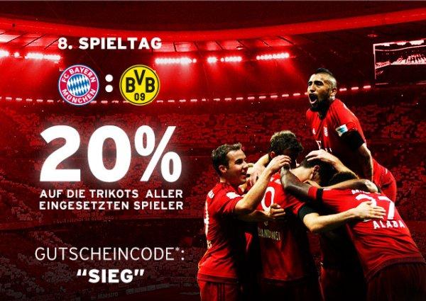 FC Bayern München Spielertrikots 20% Rabatt