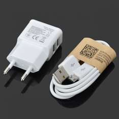 2000mA Dual USB AC Power Charger Adapter + Micro USB Cable for Samsung/HTC