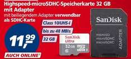SanDisk SDHC 32GB MicroSD CLASS 10 mit Adapter für 11,99€@real