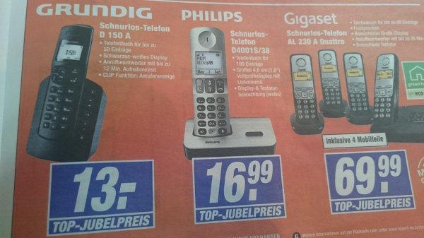 [EXPERT Technikmarkt Lokal] Schnurlostelefone:Grundig D150A für 13 Euro und Philips D4001S/38 16,99 Euro