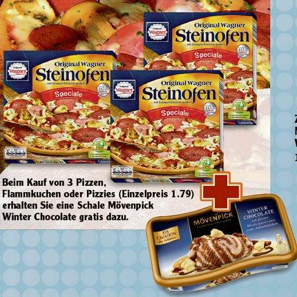 [GLOBUS] 3x Wagner Steinofen Pizza oder Flammkuchen + 1x Mövenpick Winter Chocolate für 5,37€