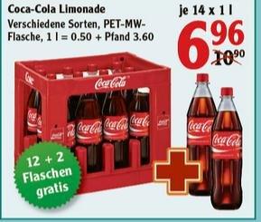 [Lokal Globus div. Märkte] 12er Kiste 1l Fanta, Coca Cola, etc. + 2x 1l-Flaschen