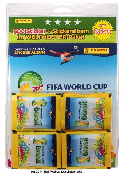 Müller Online -  Panini FIFA WM 2014 Brasilien Mega-Package (1 Album + 500 Sticker) für 9,95 €