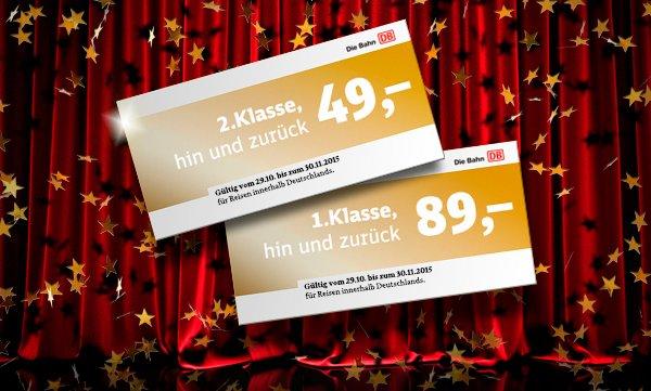 Bahn Festpreis-Gala -  49,– Euro in der 2. Klasse bzw. 89,– Euro in der 1. Klasse (NUR FÜR BAHN.BONUS Kunden)