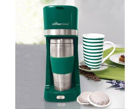 """coffeemaxx Single Kaffeemaschine Kaffeepadmaschine und Filterkaffe  Inkl. Becher mit Streifendekor & Thermobecher für """"Coffee to go"""" bei allyouneed"""