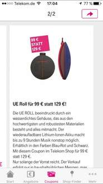 UE Roll Lautsprecher für 99 € statt 129 €