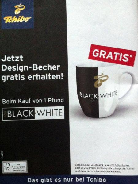 Tchibo Black 'N White Tasse kostenlos, beim Kauf von 500g Black 'n White Kaffee
