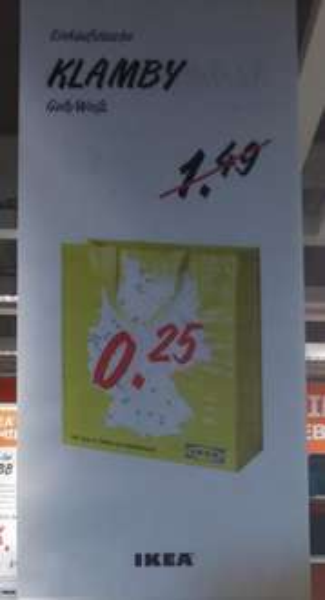 [Ikea Düsseldorf] Einkaufstasche Klamby statt 1,49 nur 25 Cent