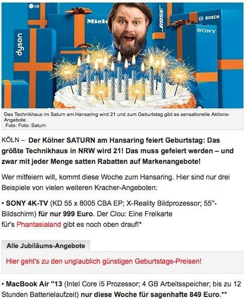 """[Lokal Saturn Köln] 13"""" Macbook Air, Intel Core i5, 4 GB RAM"""