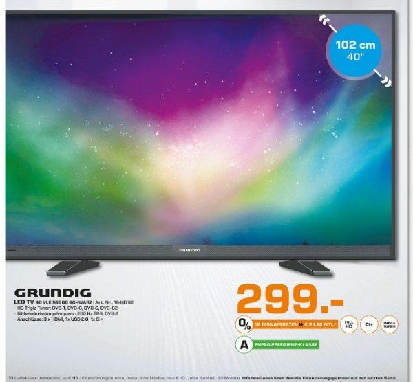 [Lokal Saturn Bergisch Gladbach] GRUNDIG 40VLE565 BG, 102 cm (40 Zoll), Full-HD, LED TV, 200 Hz PPR, DVB-T, DVB-C, DVB-S, DVB-S2, EEK: A für 299,-€