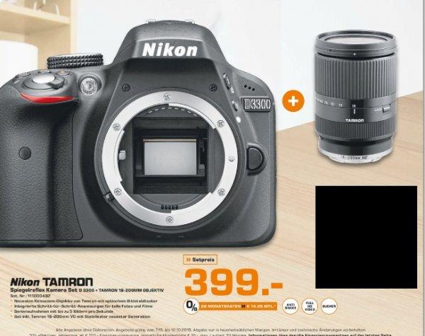 [Lokal Saturn Mainz und Wiesbaden] Nikon D3300 schwarz + Tamron 18-200 mm f3.5-6.?3 DI II VC für 399,-€